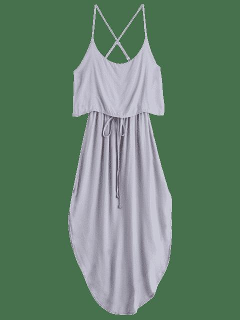 shops Irregular Hem Spaghetti Straps Drawstring Side Slit Dress - GRAY S Mobile