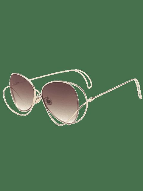 online Ombre Metallic Curve Surround Sunglasses - TEA-COLORED  Mobile