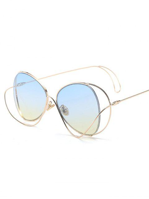hot Ombre Metallic Curve Surround Sunglasses - LIGHT BLUE  Mobile