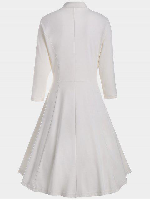 fashion V Neck Three Quarter Sleeves Dress - WHITE S Mobile