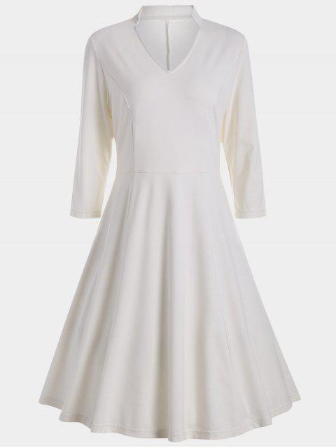 outfits V Neck Three Quarter Sleeves Dress - WHITE L Mobile