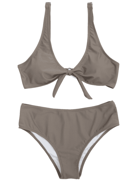 shops Scoop Knotted Bathing Suit - COFFEE M Mobile