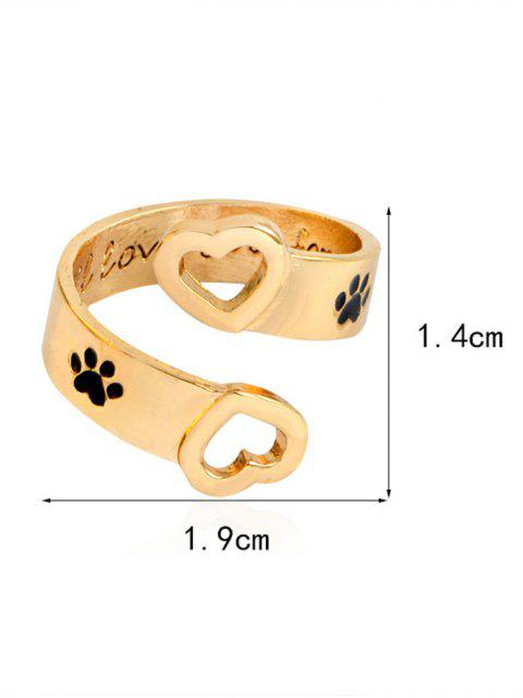 affordable Claw Footprint Love You Forever Heart Ring - GOLDEN  Mobile