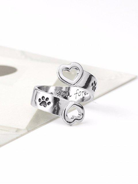 buy Claw Footprint Love You Forever Heart Ring - SILVER  Mobile