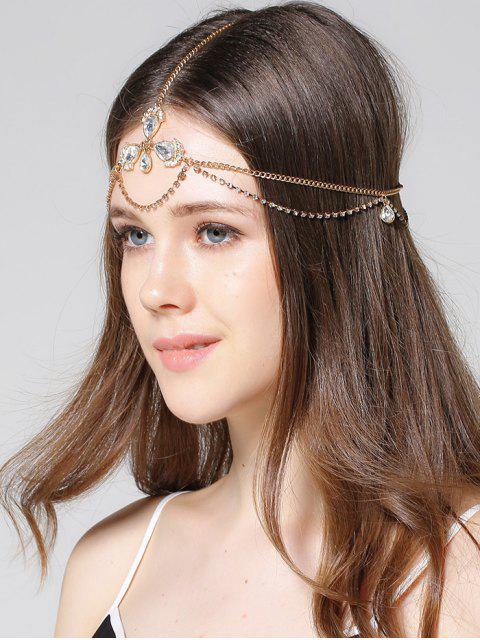 womens Forehead Faux Gem Rhinestone Head Chain - GOLDEN  Mobile