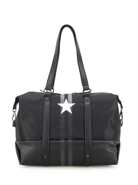 women's Rivets Star Print Shoulder Bag - BLACK  Mobile
