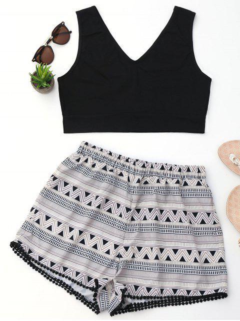 Ensemble de shorts d'impression géométrique et géométrique - Noir XL Mobile