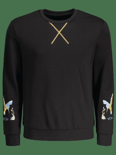 outfits Crisscross Bird Print Pullover Hoodie - BLACK 2XL Mobile