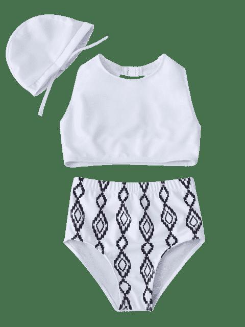 latest Cut Out Geometric High Waisted Kid Bikini - WHITE 6T Mobile