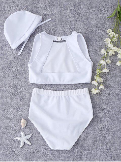 fashion Cut Out Geometric High Waisted Kid Bikini - WHITE 8T Mobile
