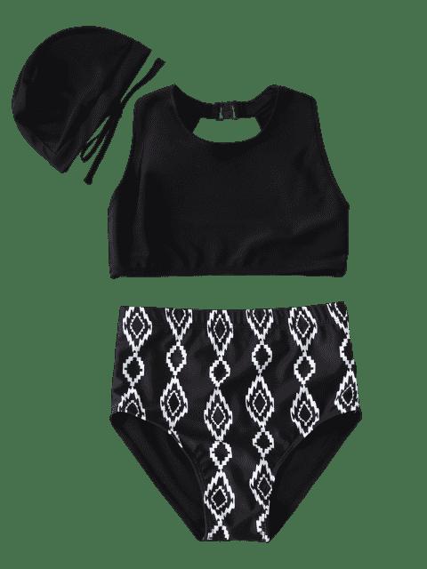 chic Cut Out Geometric High Waisted Kid Bikini - BLACK 4T Mobile