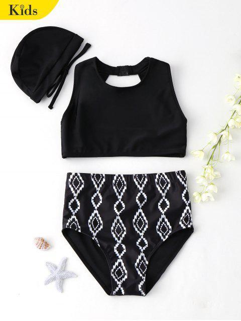 fancy Cut Out Geometric High Waisted Kid Bikini - BLACK 5T Mobile