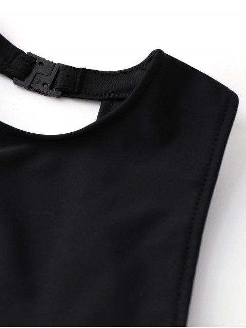 affordable Cut Out Geometric High Waisted Kid Bikini - BLACK 8T Mobile