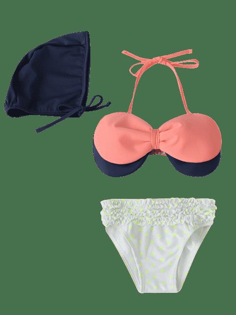 buy Bow Tiered Ruffle Kid Bikini with Swim Cap - PINK 4T Mobile