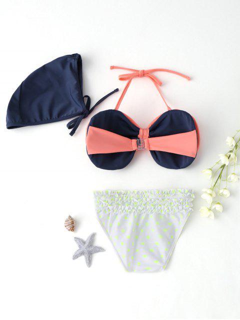 women's Bow Tiered Ruffle Kid Bikini with Swim Cap - PINK 7T Mobile