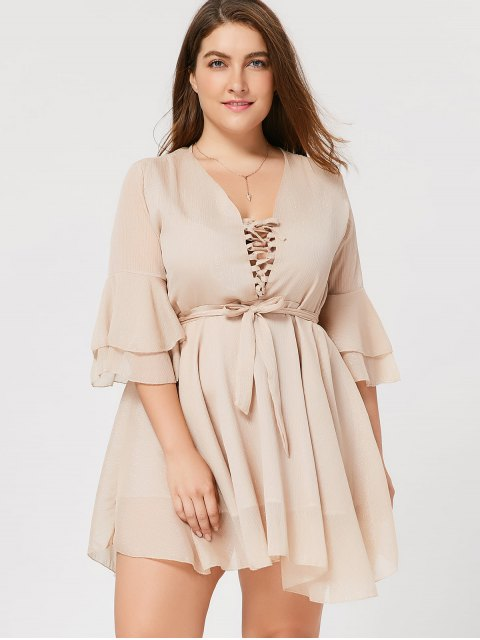 Flare Sleeve Plus Size Lace Up Dress - Abricot 2XL Mobile