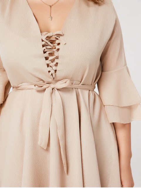 Flare Sleeve Plus Size Lace Up Dress - Abricot XL Mobile