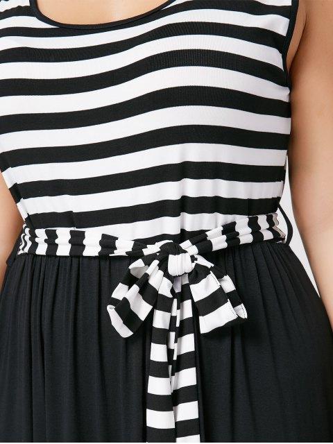 Robe Maxi rayée à rayures taille grande - Noir 2XL Mobile