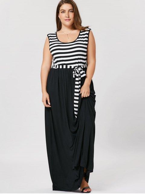 fancy Plus Size Striped Belted Maxi Dress - BLACK XL Mobile