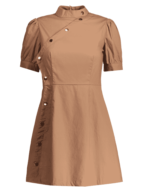 online Puff Sleeve Side Buttoned A Line Dress - KHAKI S Mobile
