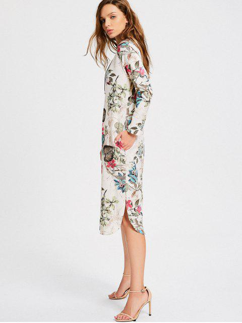 hot Floral Print Long Sleeve Slit Dress - MULTI M Mobile