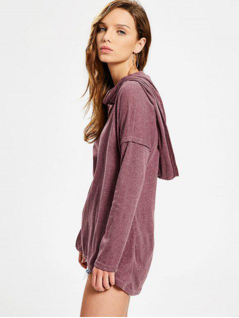 new Convertible Collar Knitted High Low Tee - BRICK-RED S Mobile