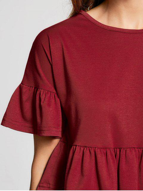 chic Flare Sleeve Tiered Plain Tee - DEEP RED M Mobile