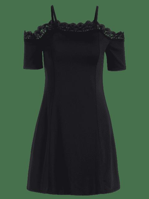 chic Lace Panel Cold Shoulder Cami Dress - BLACK S Mobile