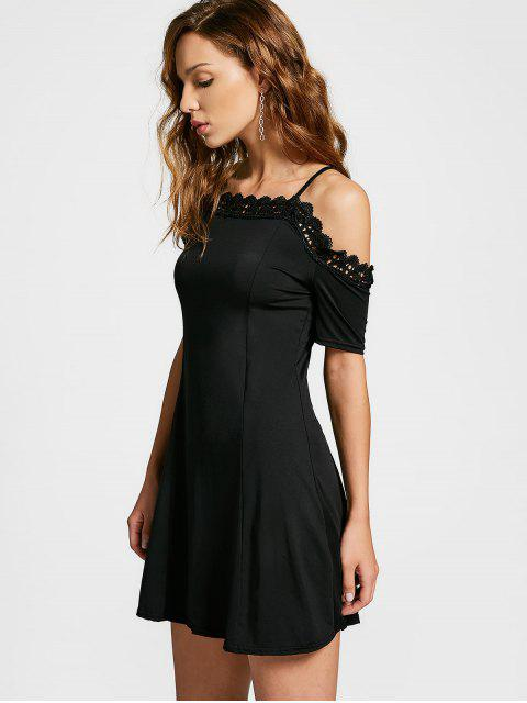 affordable Lace Panel Cold Shoulder Cami Dress - BLACK L Mobile