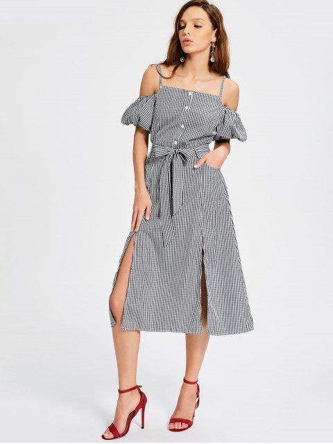 women's Puff Sleeve Slit Belted Checked Cami Dress - CHECKED L Mobile