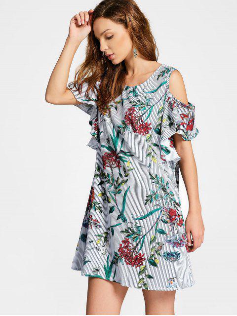 best Cold Shoulder Ruffles Floral Striped Dress - FLORAL L Mobile