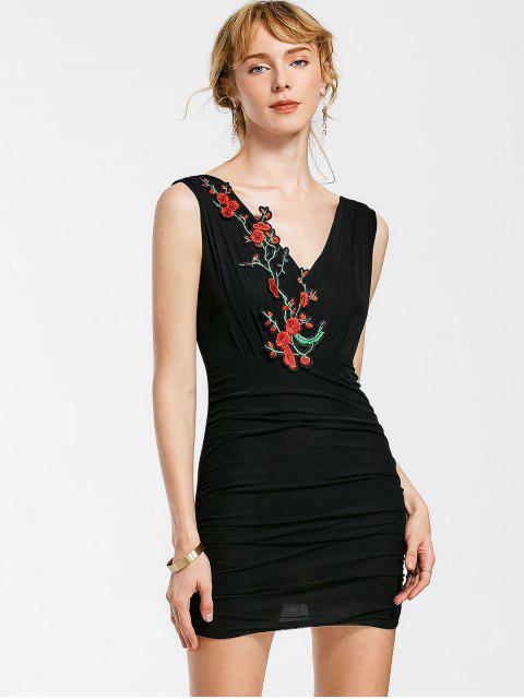 new Floral Patched Sleeveless Bodycon Dress - BLACK ONE SIZE Mobile