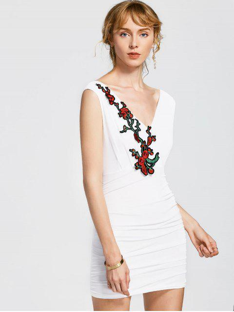 hot Floral Patched Sleeveless Bodycon Dress - WHITE ONE SIZE Mobile