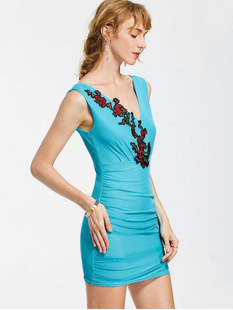 outfit Floral Patched Sleeveless Bodycon Dress - SKY BLUE ONE SIZE Mobile