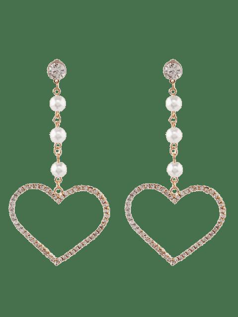 Faux Pearl Rhinestone Heart Dangle Earrings - Or  Mobile