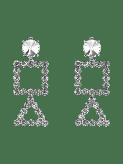 Rhinestone Triangle Geometric Dangle Earrings - Argent  Mobile