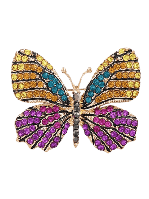 Broche mousseux papillon strass - Pourpre  Mobile