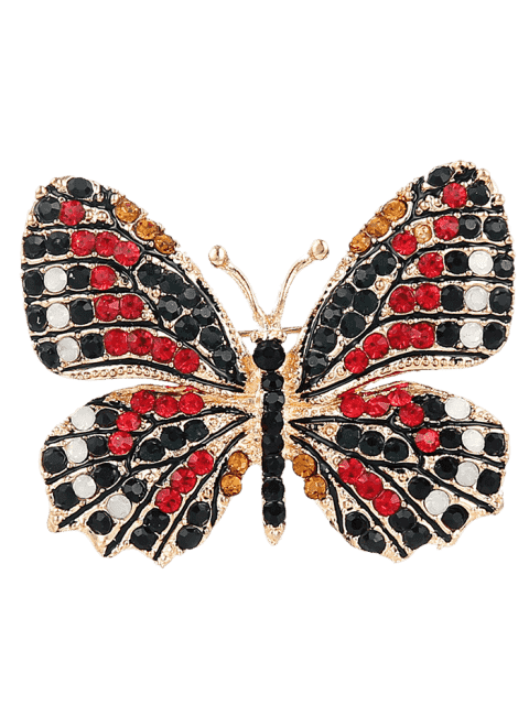 Broche mousseux papillon strass - Rouge  Mobile