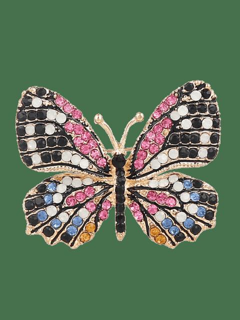 Strass Schmetterling Glänzende Brosche - Schwarz  Mobile