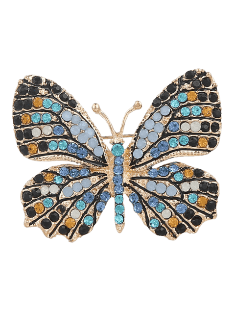 Broche mousseux papillon strass - Bleu  Mobile