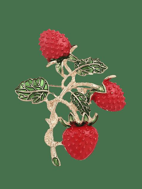 Blatt-Frucht-Erdbeer-Brosche - Rot  Mobile