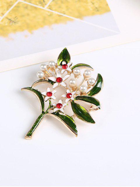 chic Rhinestone Faux Pearl Flower Brooch - GREEN  Mobile
