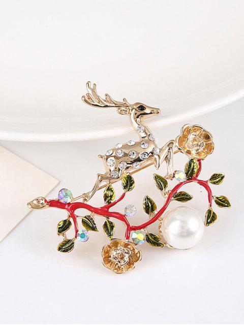 fancy Faux Pearl Rhinestone Christmas Elk Brooch - RED  Mobile