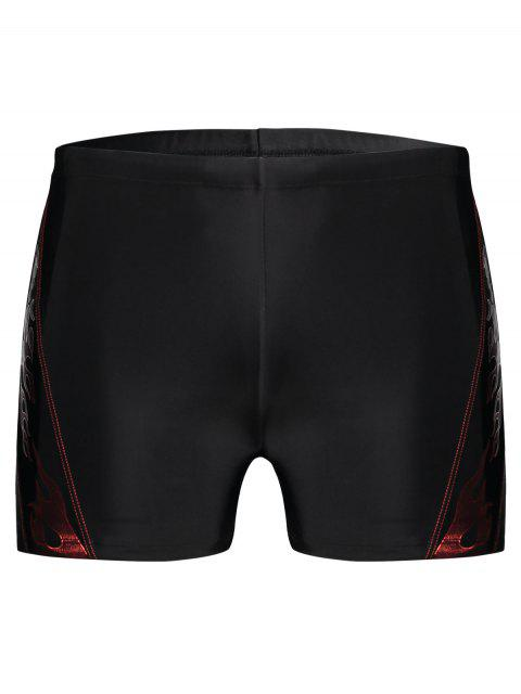 hot Drawstring Printed Swim Trunks - BLACK 3XL Mobile