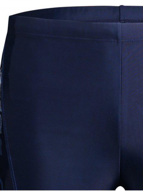 shop Drawstring Printed Swim Trunks - BLUE 5XL Mobile