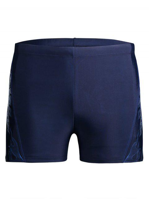 fashion Drawstring Printed Swim Trunks - BLUE XL Mobile