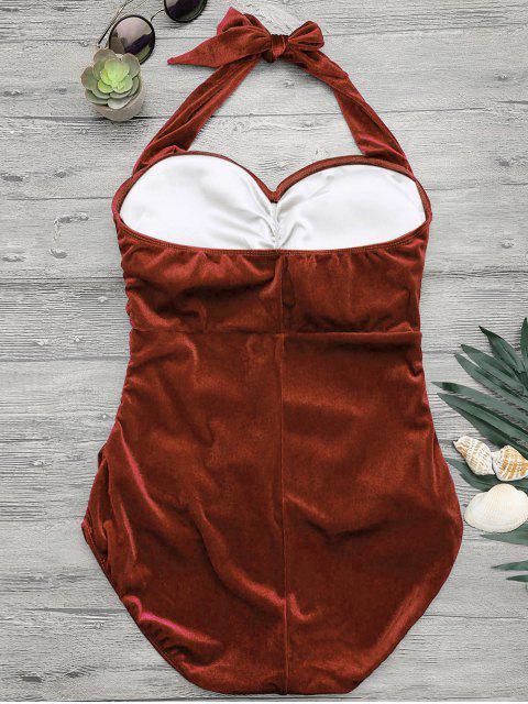 Combinaison de bain en satin de velours rembourré Halter - Brun-rouge 4XL Mobile