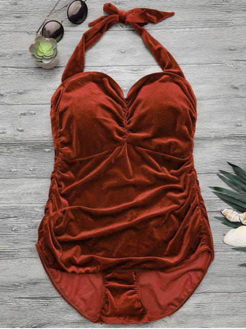 affordable Halter Padded Velvet Plus Size Bathing Suit - DARK AUBURN XL Mobile