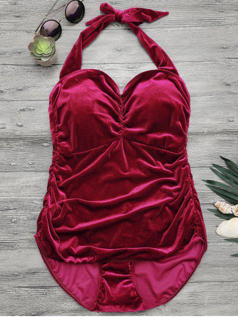 women Halter Padded Velvet Plus Size Bathing Suit - RED 3XL Mobile