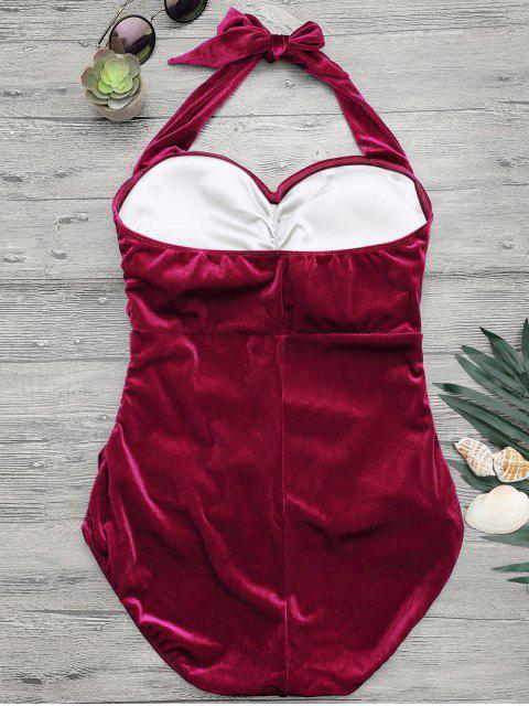 women's Halter Padded Velvet Plus Size Bathing Suit - RED 2XL Mobile
